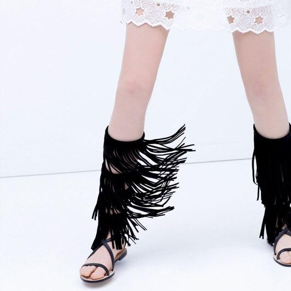 Spartiate en cuir noir à franges Zara 1683:001
