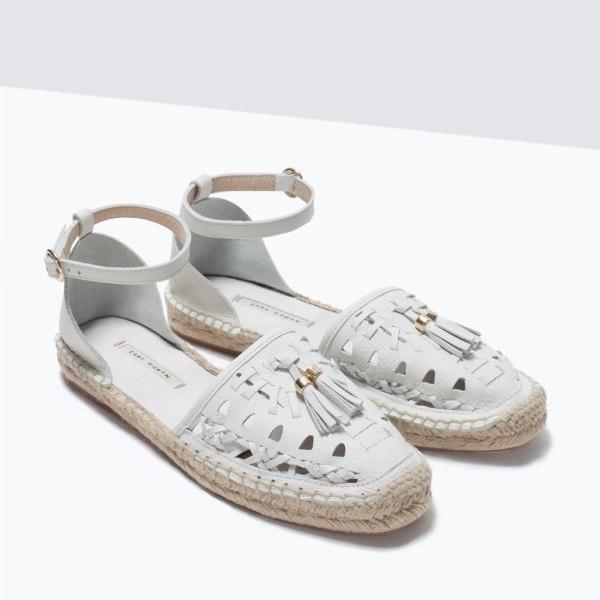 Espadrilles en cuir blanc Zara