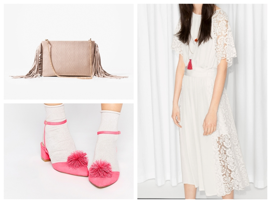 Sac en cuir Massimo Dutti, chaussures rose Asos, robe blanche &Other Stories