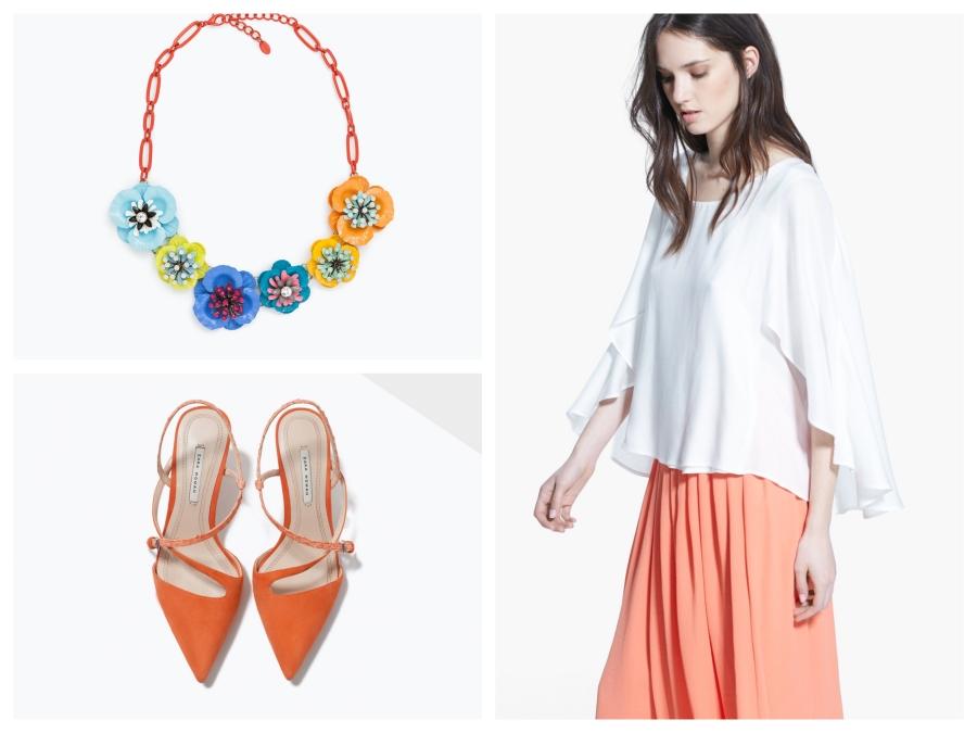 Collier Zara, escarpins orange Zara, blouse blanche Mango