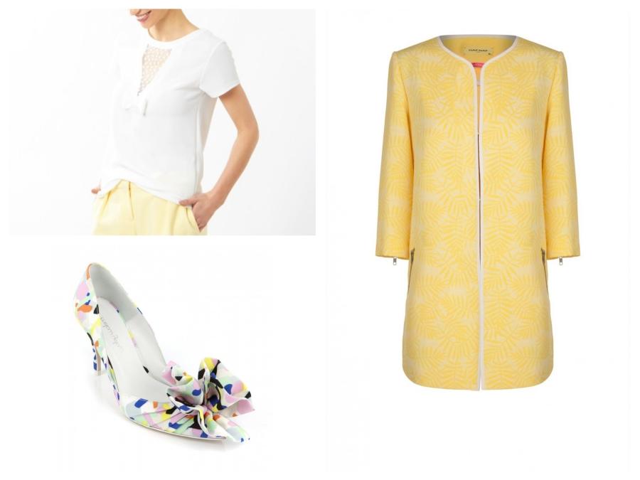 Top blanc Etam, escarpins Mellow Yellow, manteau Naf Naf
