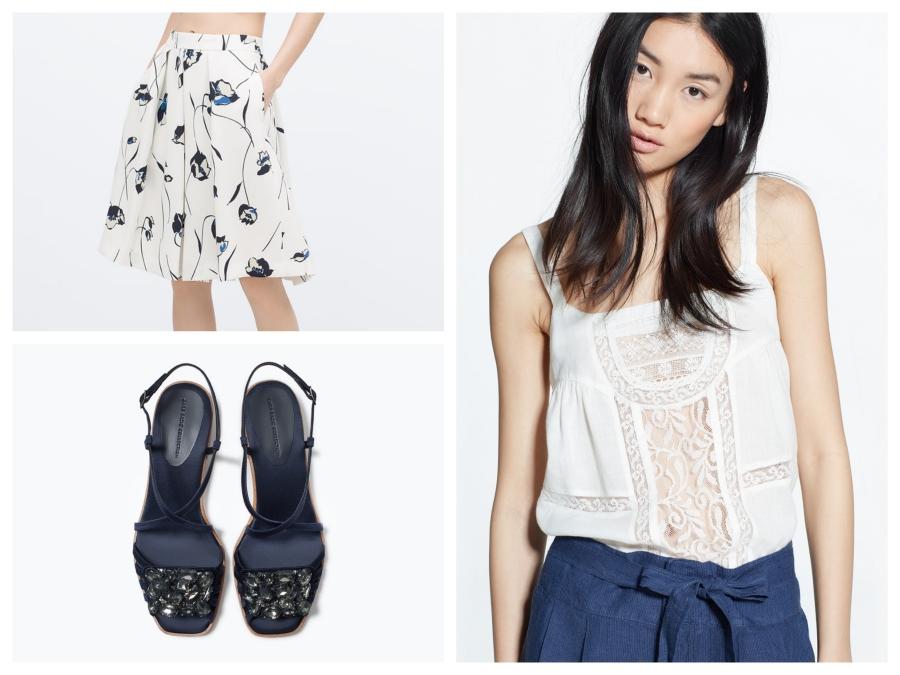 Jupe Zara, sandales marines Zara, top en dentelles Mango