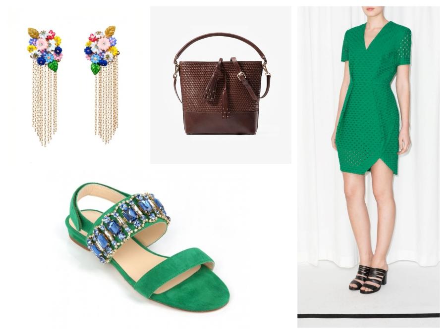 Boucles d'oreilles Les Néréides, sac en cuir Massimo Dutti, robe verte &Other Stories, sandales verte à strass Mellow Yellow