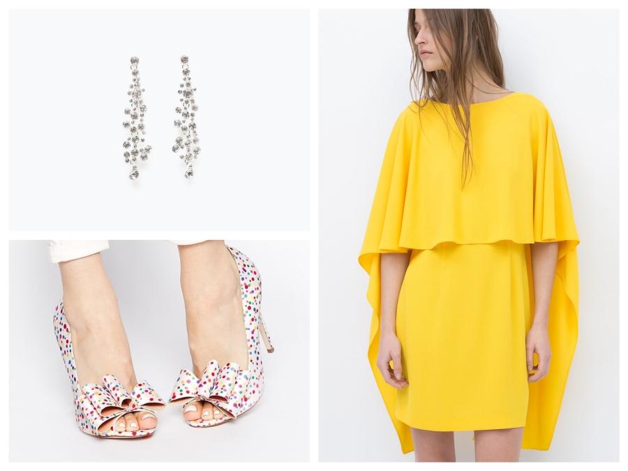Boucles d'oreilles Zara, escarpins Asos, robe jaune Zara