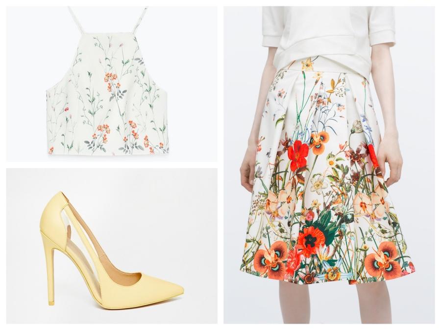 Top et jupe fleuris Zara, escarpins jaune Asos