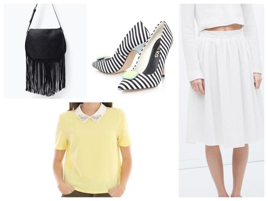 Sac à franges Zara, escarpins Asos, top jaune Pimki, jupe, jupe en broderie anglaise Zara