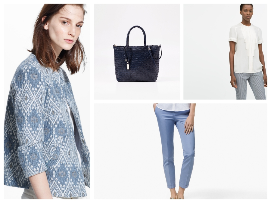 Veste en jacquard bleue Mango, sac en cuir tressé Zara, top beige Zara, pantalon bleu Massimo Dutti
