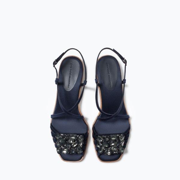 Sandales en satin marine 2668:001 zara