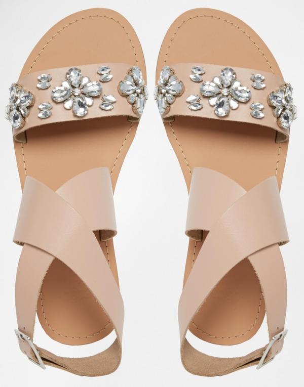 Sandales en cuir beige 577343 asos