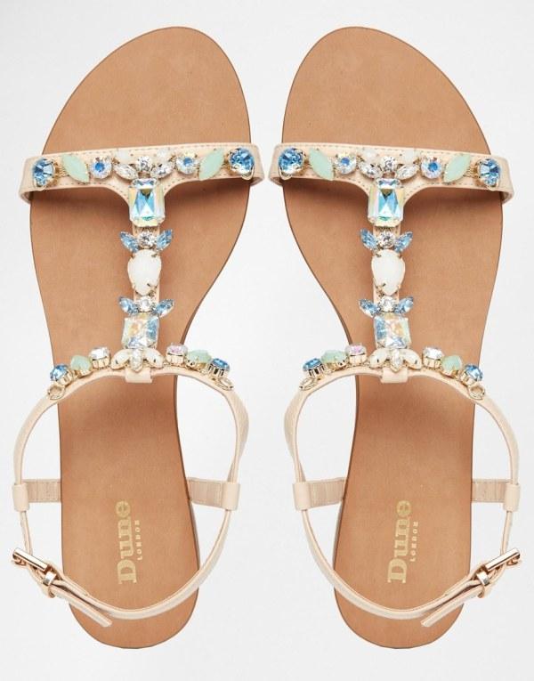 Sandales beige et bleue Dune 597077 asos