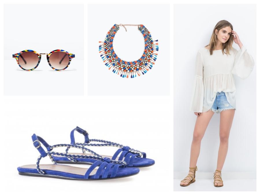 Lunettes, collier et blouse Zara, sandales André