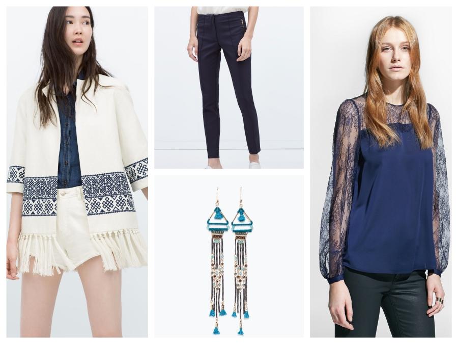 Manteau, pantalon et boucles d'oreilles Zara, blouse Mango