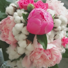 bouquet fleurs de coton pivoine