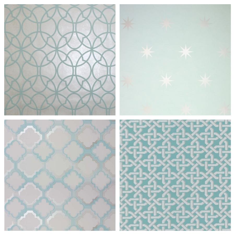 papier peint géométrique aqua
