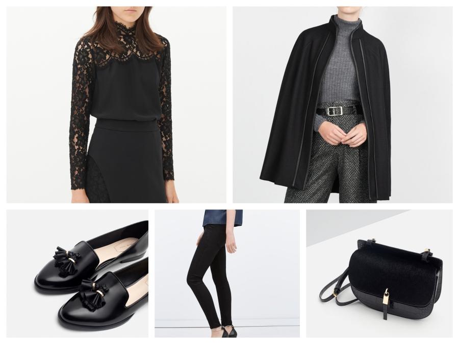 Top en dentelle Sandro, cape noire, mocassins à pompons, pantalon noir et sac noir Zara