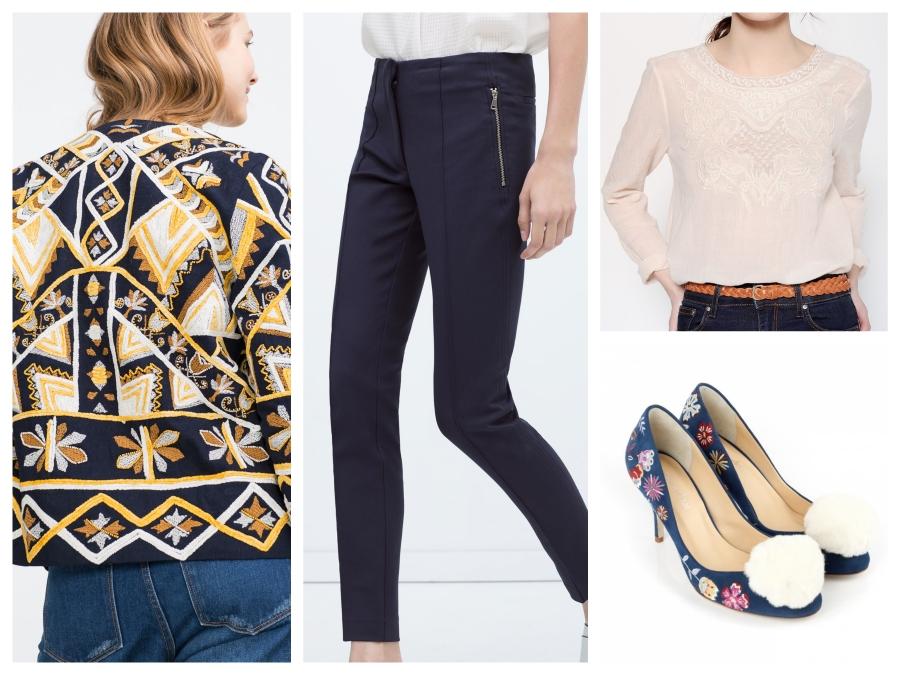 Veste brodée Zara, pantalon Zara, blouse Les Petits Hauts, Escarpins Mellow Yellow