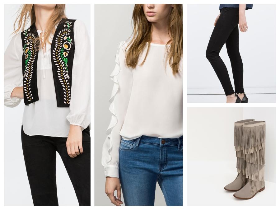 Gilet en cuir brodé Zara, Blouse Massimo Dutti, pantalon et bottes à franges Zara
