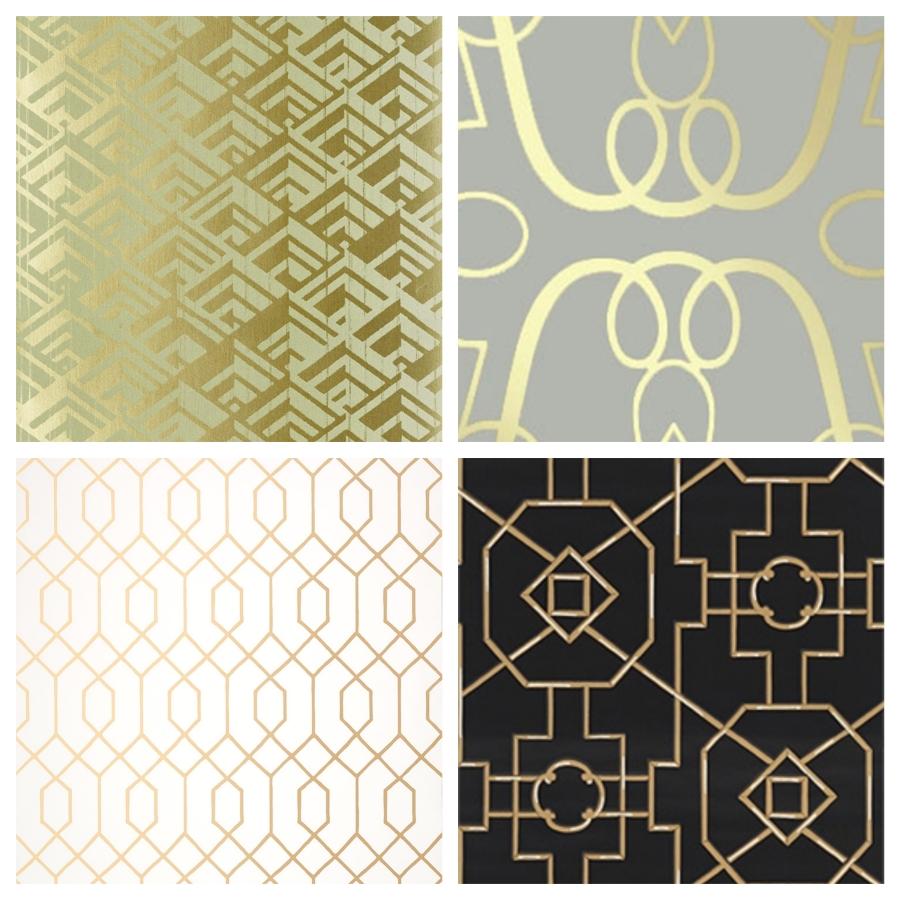 Papier peint geometrique dore