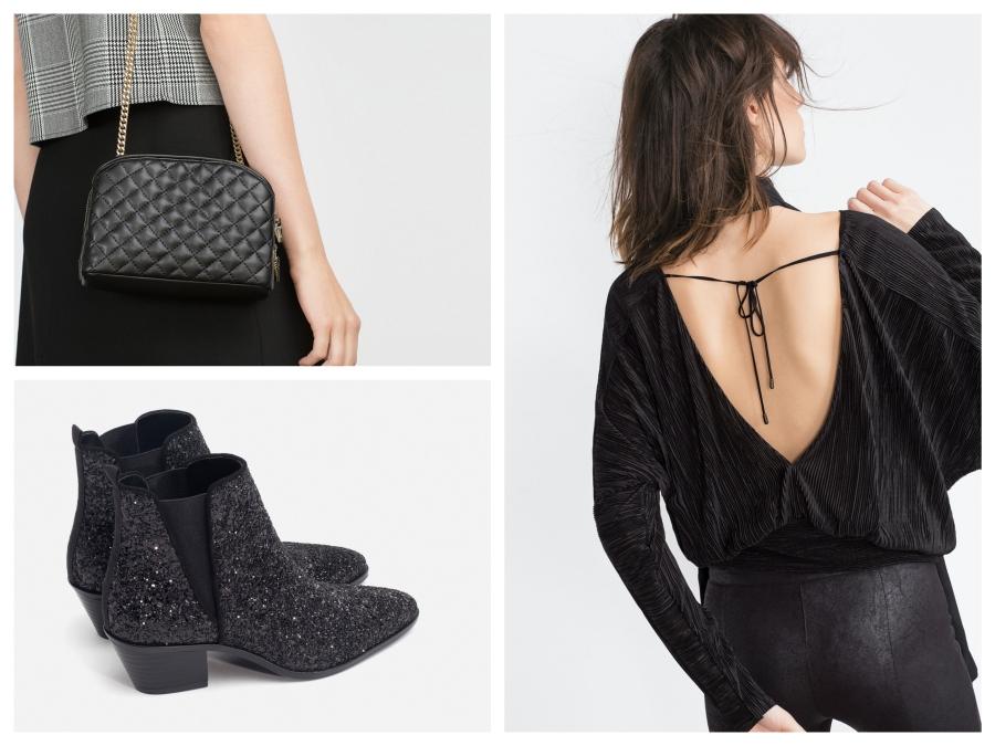 Pull décolleté dans le dos, sac matelassé et boots glitter, Zara