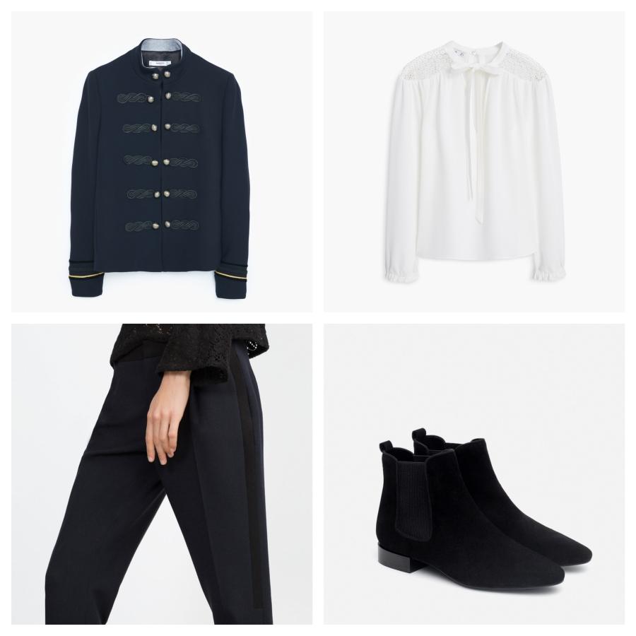 Veste militaire Mango, blouse Mango, pantalon Zara, boots Zara