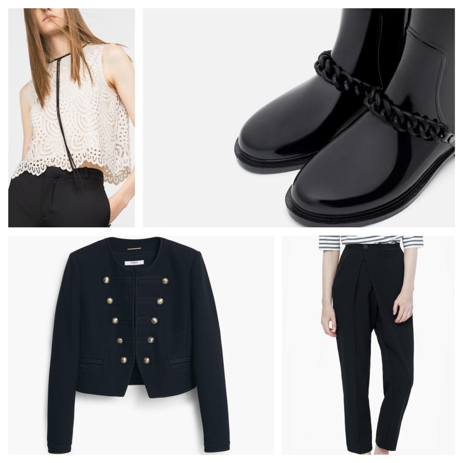 Top en guipure Zara, boots Zara, veste militaire Mango, pantalon Mango