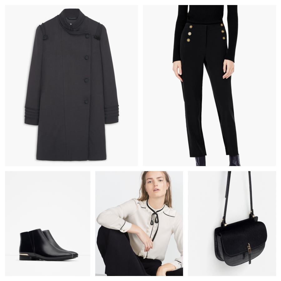 Manteau stye militaire Mango, pantalon Mango, boots blouse et sac Zara