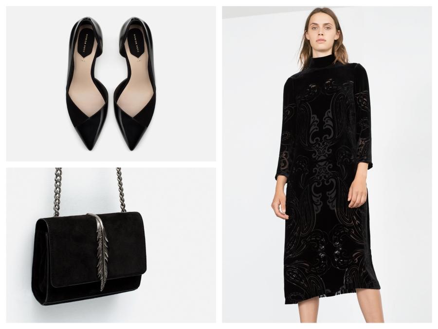 Escarpins, sac en daim et robe en velours dévoré Zara