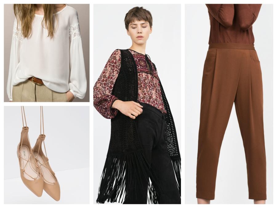 Blouse Massimo Dutti, ballerines lacées, gilet en cuir à franges et pantlon Zara
