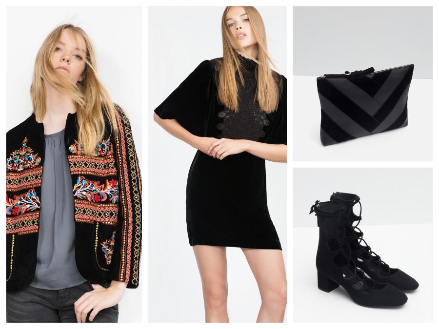 Veste en velours brodée, robe en velours, pochette en cuir et chaussures lacées, le tout Zara