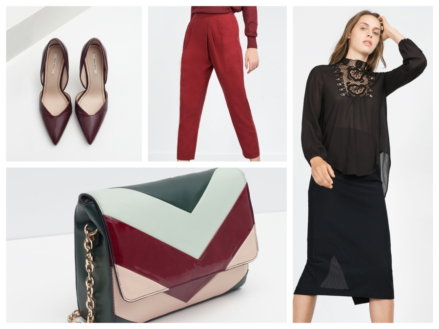 Escarpins bordeaux, pantalon bordeaux, top en crochet et sac Zara
