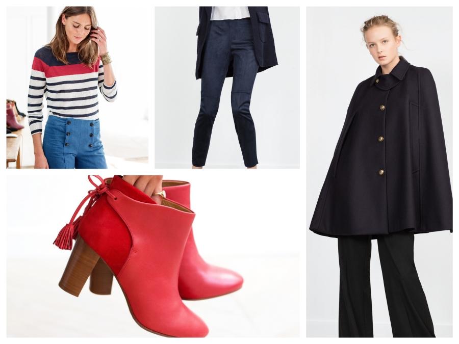 Pull rayé marine, beige et rouge, Sézane, pantalon en suédine marine Mango, Cape Zara, boots en cuir rouge Sézane